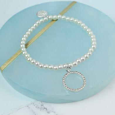 Ivory Faux Pearl And Crystal Hoop Stretch Bracelet