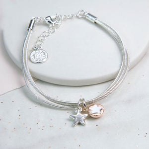 Triple Layer Bracelet With Double Star Charms