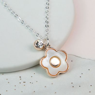 Rose Gold And Acrylic Flower Necklace