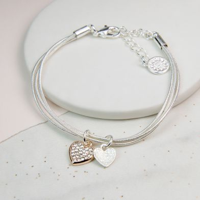 Triple Layer Rose Gold Crystal And Silver Heart Bracelet
