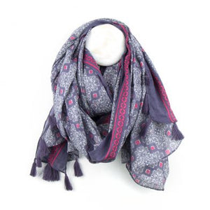 Cotton Dusky Mauve And Pink print Scarf