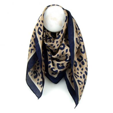 Navy And Ecru Silky Animal Print Scarf