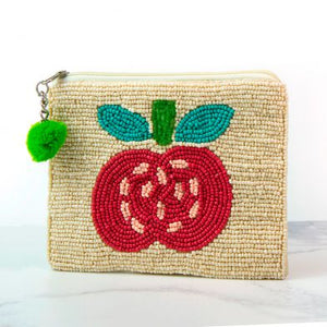 Ivory Beaded Purse With Red Apple