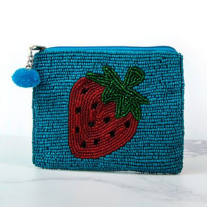 Turquoise Beaded Purse With Red Strawberry