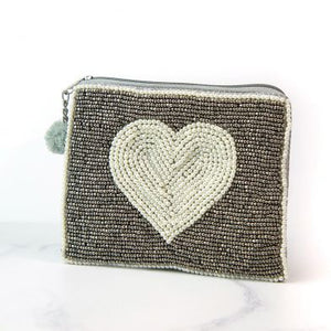 Grey Beaded Purse With Pearl Heart