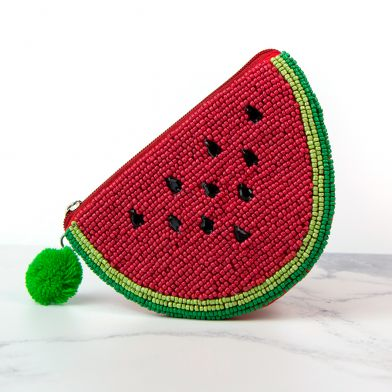Red Watermelon Slice Beaded Purse