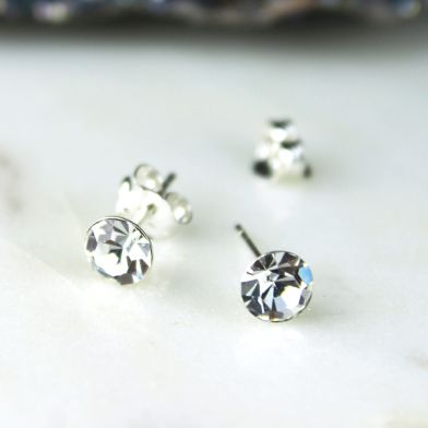 Sterling Silver Clear Crystal Round Stud Earrings
