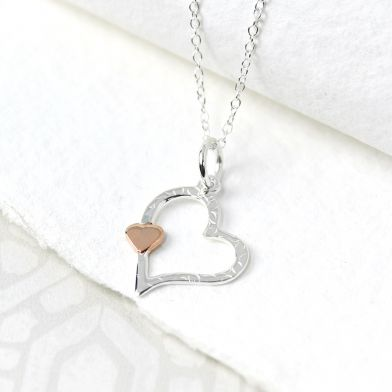 Silver Textured Heart And Rose Gold Heart Necklace