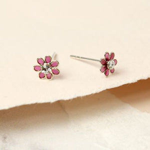 Sterling Silver Pink Flower Stud Earrings