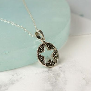 Sterling Silver Marcasite Cut Out Star Necklace