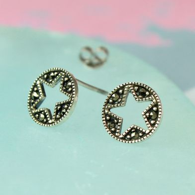 Sterling Silver Marcasite Star Disc Earrings