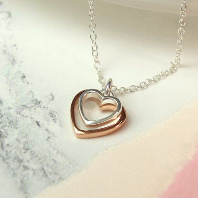 Sterling Silver And Rose Gold Double Heart Necklace