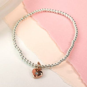 Sterling Silver And Rose Gold Crystal Heart Bracelet