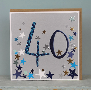 40th Birthday Card - Stars