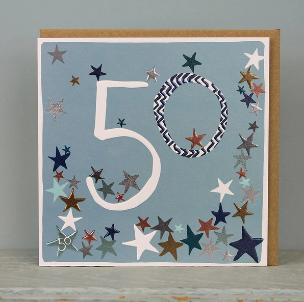 50th Birthday Card - Stars