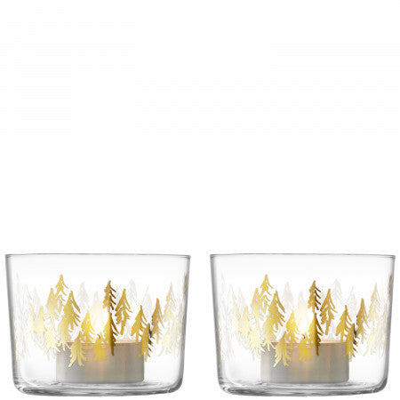 Fir Metallic Tealight Holder x 2