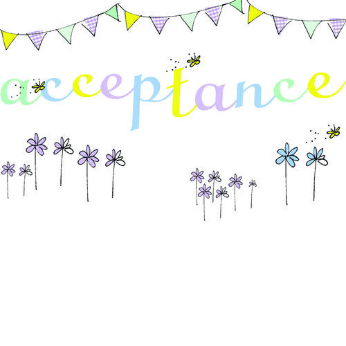 Bunting, Butterfly and Flower Acceptance Card