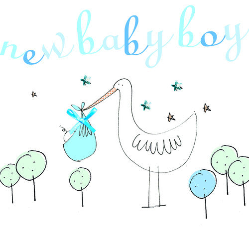 Stork New Baby Boy Card