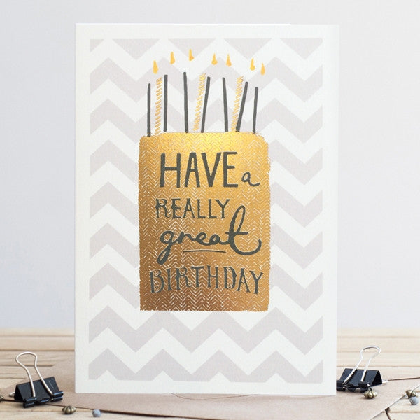 Gold Birthday Cake Card