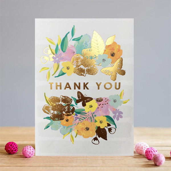Gold Butterfly and Floral Thank You Card