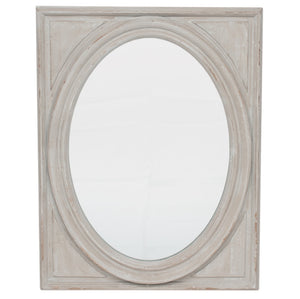 House Grey Wood Oval Wall Mirror with Oblong Frame