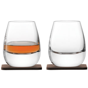 Islay Whisky Tumbler with Walnut Base x 2