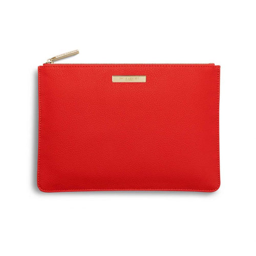 Soft Pebble Perfect Pouch | Red