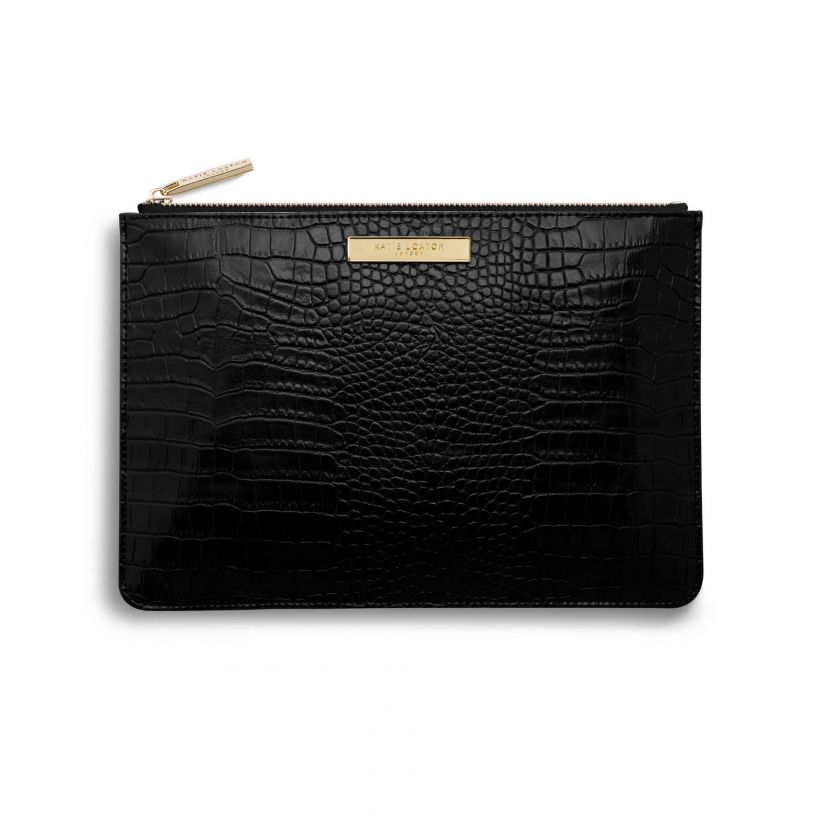 Celine Croc Perfect Pouch | Black