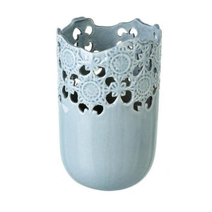 Light Blue Cut Out Design Ceramic Vase - Small