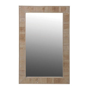 Rectangular Natural Wood Finish Wall Mirror