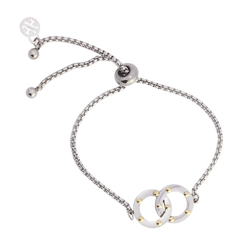 Two Circles Adjustable Rivets Bracelet