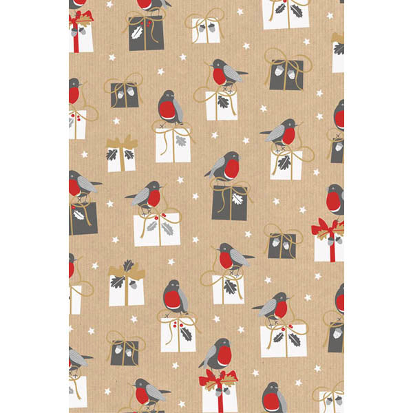 Christmas Tree Gift Wrap 2m Roll - Robin