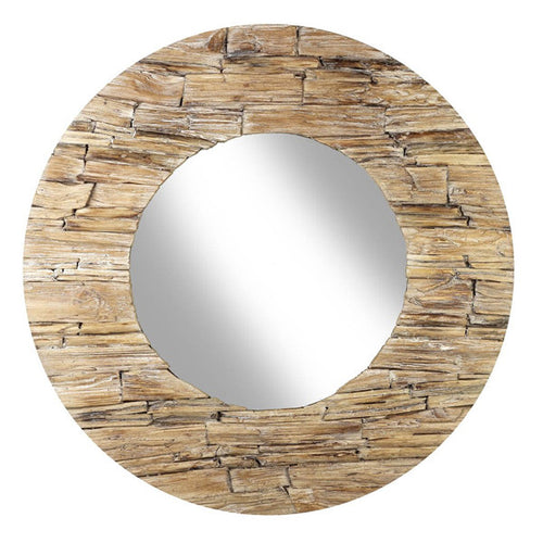 Round Natural Wood Finish Mirror