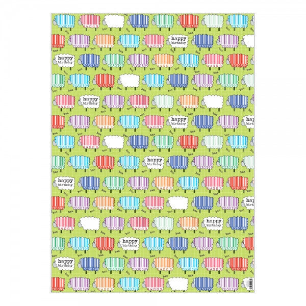 Happy Birthday Sheep Print Gift Wrap