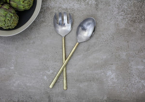 Brushed Gold Salad Servers