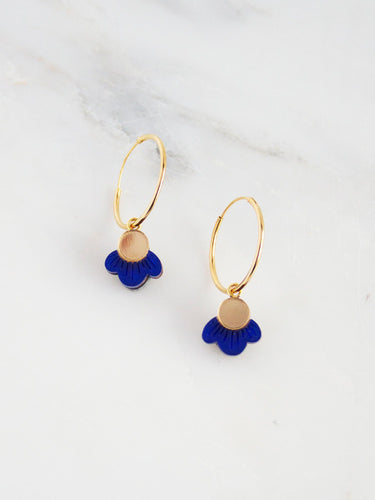 Wildflower Hoops Dark Blue