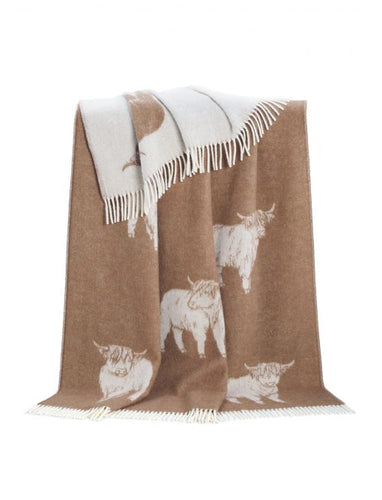 Brown Highland Cow Wool Throw