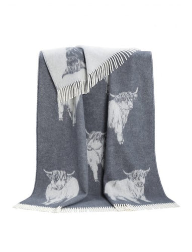 Dark Grey Highland Cow Throw