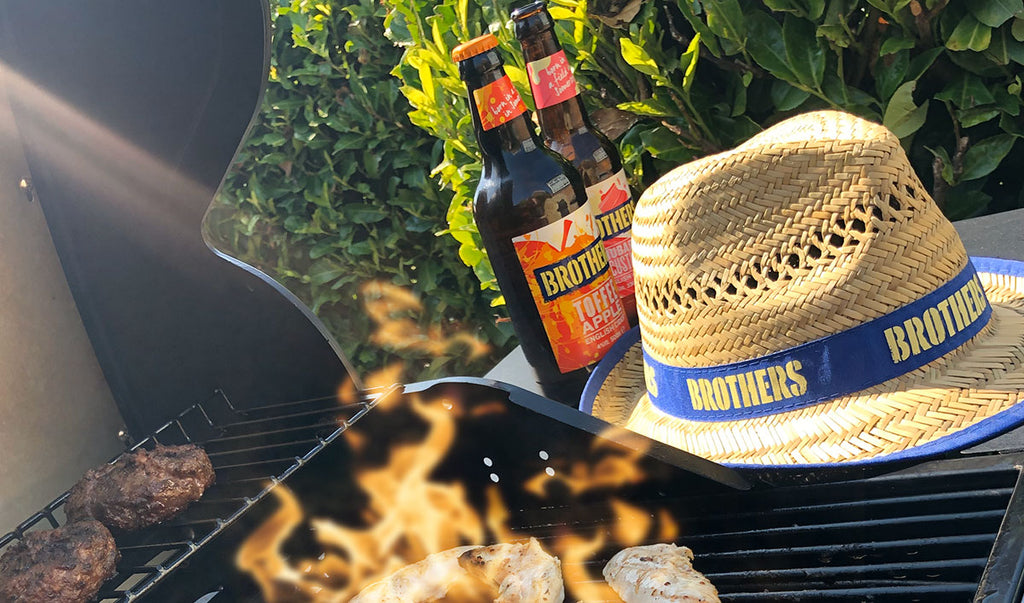 Brothers BBQ with Toffee Apple and Rhubarb And Custard cider