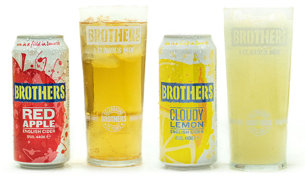 Brothers Red Apple and Cloudy Lemon cider cans