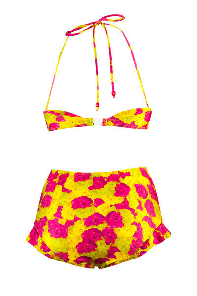 Neon Floral Frill Brief