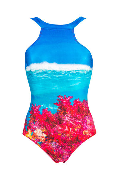 Whitehaven Beach High Neck Full Piece