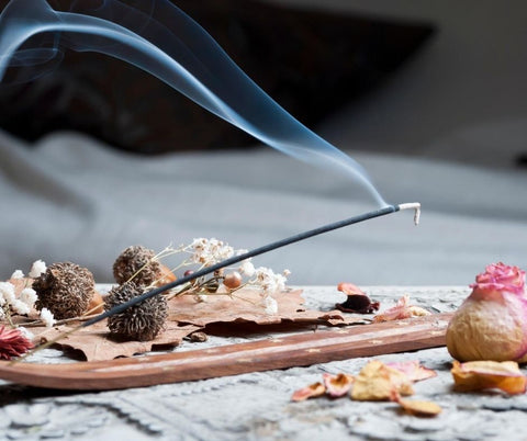 Using incense to cleanse crystals