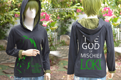 Loki highlight with quote I am burdened and The god of mischief Loki black and olive green t-shirt long sleeves