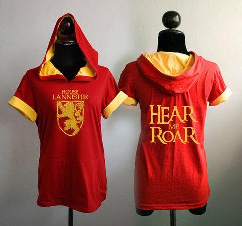 House Lannister here me RoaR red t-shirt hoodie short sleeve
