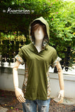 Olive green Military arrow t shirt hoodie short sleeve