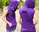 Hawkeye Archery t-shirt hoodie with arrow on the back side sleeveless