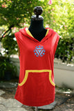 Iron man mark 5 on red and yellow t-shirt Hoodie sleeveless with yellow line pocket