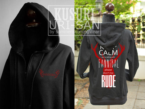 Hannibal sweatshirt hoodie Keep Calm you're talking with Fannibal -can choose pull over or zipper