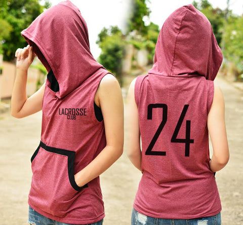 Lacross club Crimson grey and black t-shirt hoodie with number 24 sleeveless